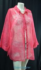 Alfred Dunner burnout sheer top blouse light button up Top Shirt 3/4 slv 20W NEW