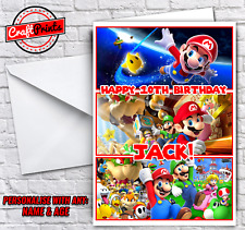 Super Mario personalised Birthday Card - Any Name & Age