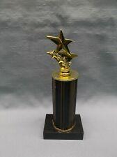 multi star trophy award solid wood column black marble base
