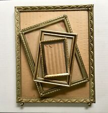 Lot of Vintage Brass Gold Tone Metal Picture Photo Frames Lot Of 4