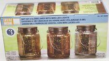 Inside Outside Garden Set of 3 Glass Jars with Mini LED Lights, Gold/Silver/Rose