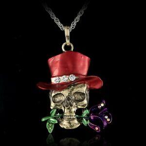 Retro Halloween Skeleton Rhinestone Pendant Necklace Sweater Chain Women Jewelry
