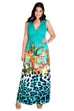 Kleid Gr.50 Maxikleid Maxi Sommerkleid Stretchkleid Blüten lang türkis Damen fes