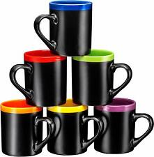 Bruntmor Porcelain Coffee Cups Mugs Set of 6 Large sized 12 Ounce Matte Black