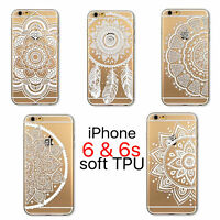 White Henna Flower Lace iPhone 6 6s Clear Transparent Soft TPU Case Cover