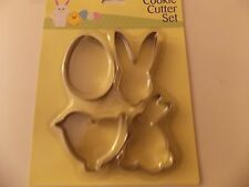 4 PEZZI Easter Cookie Cutter Set Bunny HEAD, piccoli BUNNY, uova & CHICK