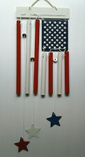 American Flag Metal Windchime - Patriotic Red White Blue - New In Box