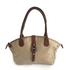Beautiful ETIENNE AIGNER Nylon Tote Shoulder Bag Beige Brown Leather Trim