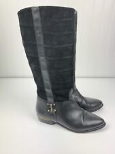 Pazzo Leather Riding Boots Womens 7 Textued Stretch Calf Horse Bit Accent Chili