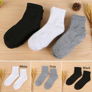 1pair Men Breathable Gym Sports Socks Cotton Short Ankle Socks White Black