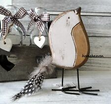 Wood Bird Ornament Standing Decoration Feather Tail Gift shabby chic