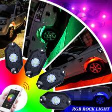 RGB 4x Pod LED Rock Lights Wireless Bluetooth Music Flashing Multi Colors Set