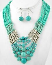 SIX LAYERS TURQUOISE STONE BEAD GLASS SEED BEAD SILVER TONE NECKLACE EARRING
