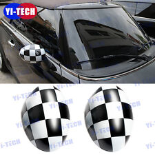Checker For Mini Cooper Side Wing Mirror Covers Cap for Manual Mirror  R55-R61