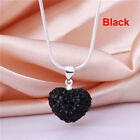 Chain Crystal Rhinestone Pendant Silver Plated Heart Necklace