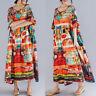 ZANZEA Damen O Neck Printed Sommer Kleid Strandkleid Langer Lose Freizeit Kleid