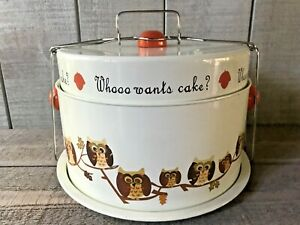 Vintage Portable Pie & Cake Keeper Carrier Owls Whoo Wants Cake?