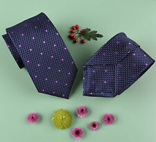 "Purple Alligator Skin Patterned 3"" Tie Violet Polka Dot Matching Shirt Necktie"