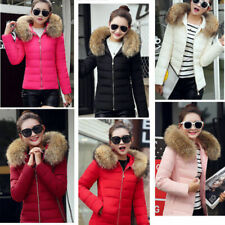 Ladies Women Quilted Puffer Bubble Padded Fur Hooded Warm Thick Coat Jacket Pure