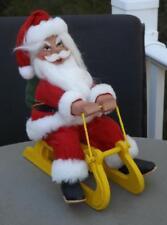 Large Hand Carved Wood Santa Figurine Riding a Sled Sleigh 1985 J&il