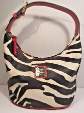 Dooney & Bourke Zebra Print Shoulder Bucket Bag Red Leather Trim