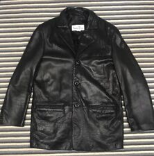 Albert Duke Mens Leather Jacket Blazer Butter Soft Black 3 Button Large EUC