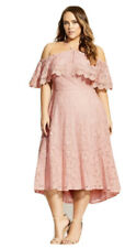City Chic - Enticing Lace Dress - Pink/Size Small/Size 16/Lace/Off Shoulder/Sexy