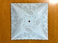 """Vintage Light Glass Shade mid century Fixture 13"""" SQUARE CEILING replacement MCM"""