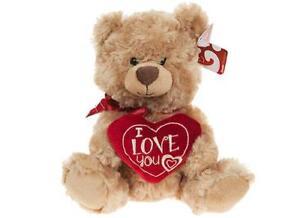 "Rafaelo Bear Valentines Day With I Love Heart Cuddly Soft Toy Teddy 8"""