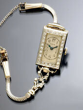WOMEN'S ART DECO 18K WHITE GOLD DIAMOND BEZEL ELGIN DRESS WATCH CA1920S