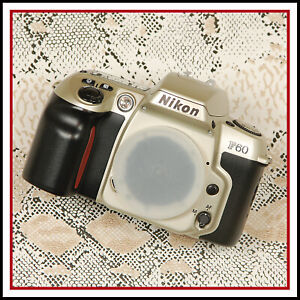 Nikon F60 Champagne Silver 35mm Film AF SLR Camera + User Manual + Strap