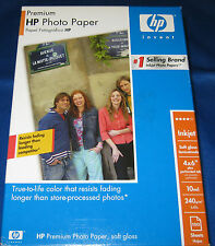 HP Premium Soft Gloss 4x6 Photo Paper 100 Sheets New In Box Resists Fading