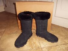 UGG black suede mid calf 3/4 length boots sheepskin lined wedge UK 6.5