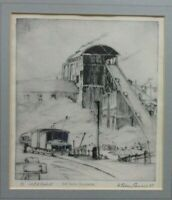"ORIGINAL ETCHING ""THE SLAG CRUSHER"" BY WILLIAM SIDNEY CAUSER, SIGNED"