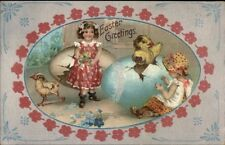Easter - Little Girls & Chicks Hatching From Giant Eggs c1910 Postcard