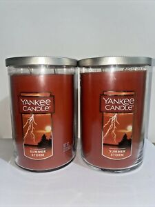 ☆☆SUMMER STORM☆☆SET OF 2 LARGE YANKEE CANDLE 2 WICK TUMBLERS☆☆FREE SHIPPING