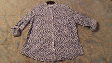 Kim Rogers Blue Combo Womens Large Button Down Blouse Roll Sleeves NWT 1