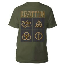 Official Led Zeppelin T Shirt Gold Symbols Green Classic Rock Metal Band Tee New