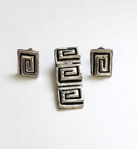 Vintage Sterling Silver Modern Geometric Pendant & Earring Set - 9 grams