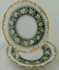 ANTIQUE LIMOGES SALAD/DESSERT PLATE PAIR GOLD RIM PINK DOGWOOD FLOWER GARLAND