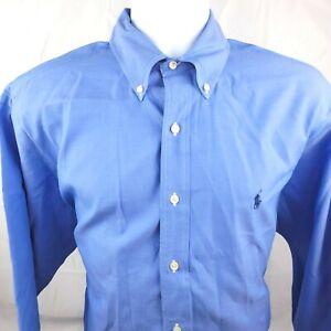 Ralph Lauren Mens 16-32/33 Blue Classic Fit Long Sleeve Button Dress Shirt Pony