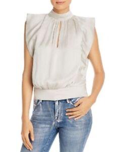 Frame Dark Gray Sleeveless Pleated Silk Elegant Blouse M Mock Neck Women's New