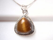 Tiger Eye Triangle with Soft Corners 925 Sterling Silver Necklace