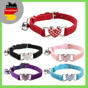 Cat Collar With Bell Heart Rhinestone Fleece Stretch Band Cat Dog Collar