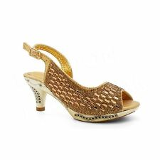 Girls Diamante Bridal Sandals Childrens Kids Wedding Party Low Kitten Heel Shoes UK 9 Infant Gold