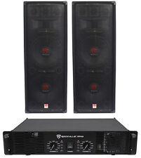 """2) Rockville RSG12.28 Dual 12"""" 2000W PA Speakers+Rockville RPA9 DJ Amplifier Amp"""