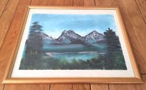 Original Oil Painting Mountain Lake Scene View Forest Trees Peaceful Green Blue