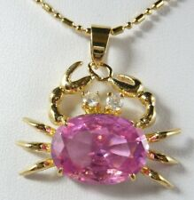Pink Cubic Zirconia 18KGP Crystal Crab Women Lady Girl Pendant Chain Necklace