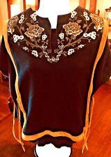 VEST VTG Leather Embroidered 1970s Suede Hippy Boho Festival Side Tie #184