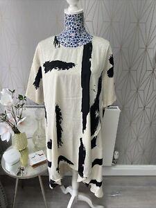 Frank Usher Brush Print Dress One Size Cream/Black New Lightweight